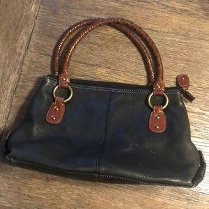 Fossil Shoulder Bag Black w/ Brown Braided Handles